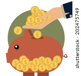 money coins on hand and piggy... | Shutterstock .eps vector #202475749