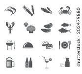seafood icons | Shutterstock .eps vector #202479880