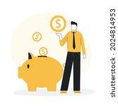 cartoon guy depositing money....   Shutterstock .eps vector #2024814953