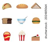colors fast food icon | Shutterstock .eps vector #202485064