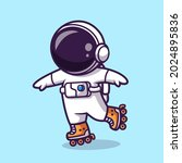 Astronaut Playing Roller Skate...