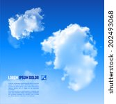 White clouds on  sky blue background. Down text - stock vector