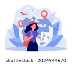 happy tourist holding map in... | Shutterstock .eps vector #2024944670