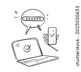 hand drawn doodle two factor...   Shutterstock .eps vector #2025030653