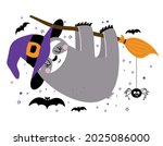 happy halloween   funny sloth... | Shutterstock .eps vector #2025086000