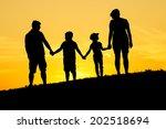 happy family silhouette | Shutterstock . vector #202518694