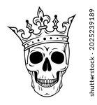 skull in crown king or queen... | Shutterstock .eps vector #2025239189