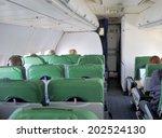 Inflight image of an aircraft interior - stock photo