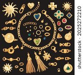 gold chains and brooshes vector ... | Shutterstock .eps vector #2025272210
