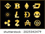 icon set crypto currency symbol ...   Shutterstock .eps vector #2025342479