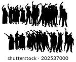 big crowds people of wedding on ... | Shutterstock .eps vector #202537000