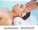 tranquil brunette getting a... | Shutterstock . vector #202545229