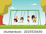 several kids in nature park... | Shutterstock .eps vector #2025525650