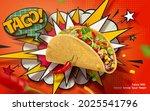 3d spicy taco ad banner in... | Shutterstock . vector #2025541796