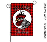 farm flag with poultry. welcome ...   Shutterstock .eps vector #2025560150