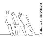 standing men fall on top of...   Shutterstock .eps vector #2025609680