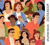 diverse people crowd....   Shutterstock .eps vector #2025636329