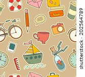seamless pattern with cute... | Shutterstock .eps vector #202564789