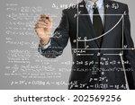 businessman writing math... | Shutterstock . vector #202569256