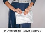 Women's Silver Clutch Bag With...