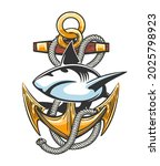 tattoo of ship anchor with... | Shutterstock .eps vector #2025798923