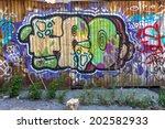 beautiful street art graffiti.... | Shutterstock . vector #202582933