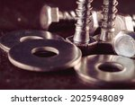 Macro photo of screws. set of...