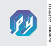 three dimension letters p and y ... | Shutterstock .eps vector #2025954563