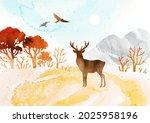 watercolor autumn vector... | Shutterstock .eps vector #2025958196