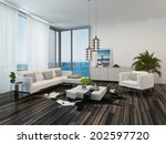 modern living room interior... | Shutterstock . vector #202597720