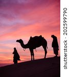 desert man with camel and great ... | Shutterstock . vector #202599790