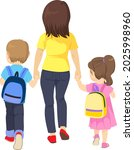 mother walking son and daughter ... | Shutterstock .eps vector #2025998960