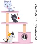 four cute cats on cat tree... | Shutterstock .eps vector #2025998966