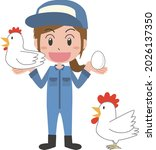 a smiling woman and a chicken...   Shutterstock .eps vector #2026137350