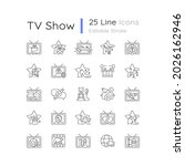tv show linear icons set.... | Shutterstock .eps vector #2026162946