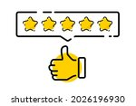 five gold star rating....   Shutterstock .eps vector #2026196930