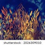 Modern Floral River Grass...