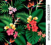 seamless tropical jungle floral ... | Shutterstock .eps vector #202632259