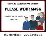 wear mask sign and symbol.... | Shutterstock .eps vector #2026345973