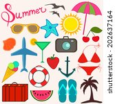 summer items for fun and travel.... | Shutterstock .eps vector #202637164