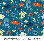 seamless pattern of marine fish ... | Shutterstock .eps vector #2026385756