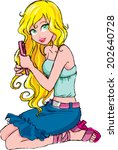 vector pretty girl combing hair | Shutterstock .eps vector #202640728