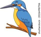 cute kingfisher bird cartoon...   Shutterstock .eps vector #2026498706