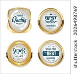 collection of golden badges and ... | Shutterstock . vector #2026498769