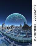 futuristic alien city  ... | Shutterstock . vector #202652449