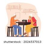 relaxing senior couple playing... | Shutterstock .eps vector #2026537013