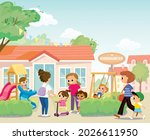 young mother pick up her...   Shutterstock .eps vector #2026611950