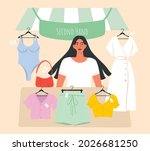 young woman sells old things in ...   Shutterstock .eps vector #2026681250