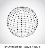 wire frame sphere. vector... | Shutterstock .eps vector #202674076
