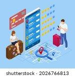 isometric tourists choosing... | Shutterstock . vector #2026766813